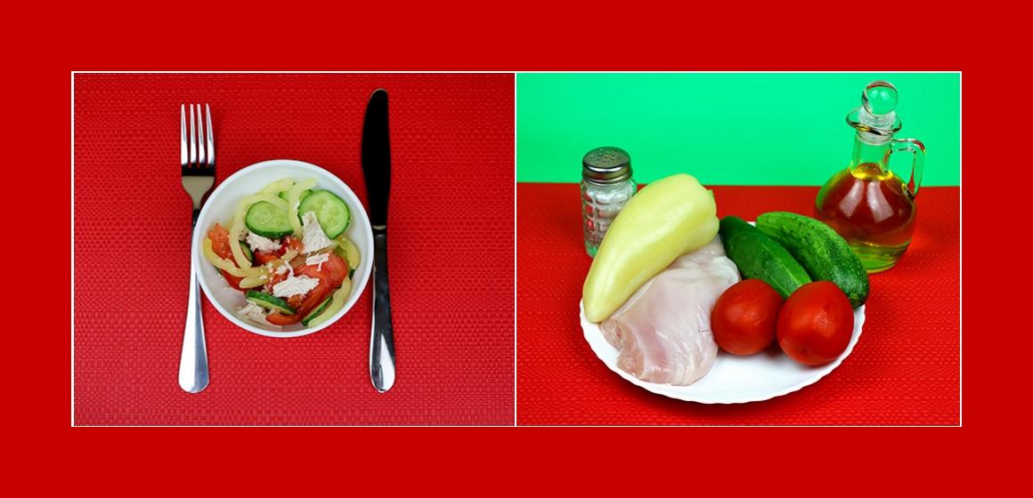 Nützlicher Gemüsesalat mit Hühnerbrust, Tomaten, Gurken und Paprika
