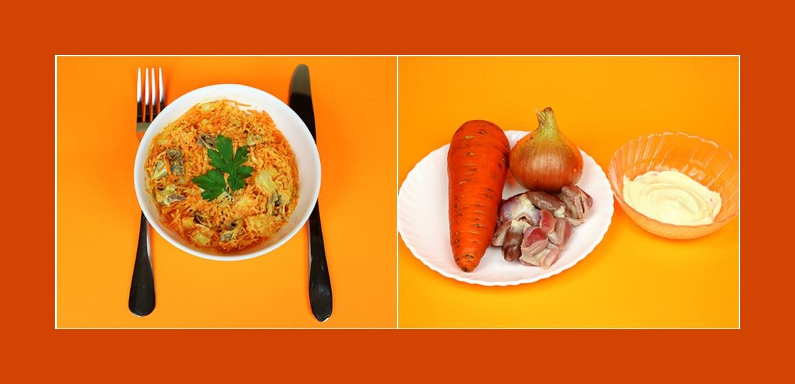 Gemischter Salat mit Eingeweiden Karotten und Zwiebeln