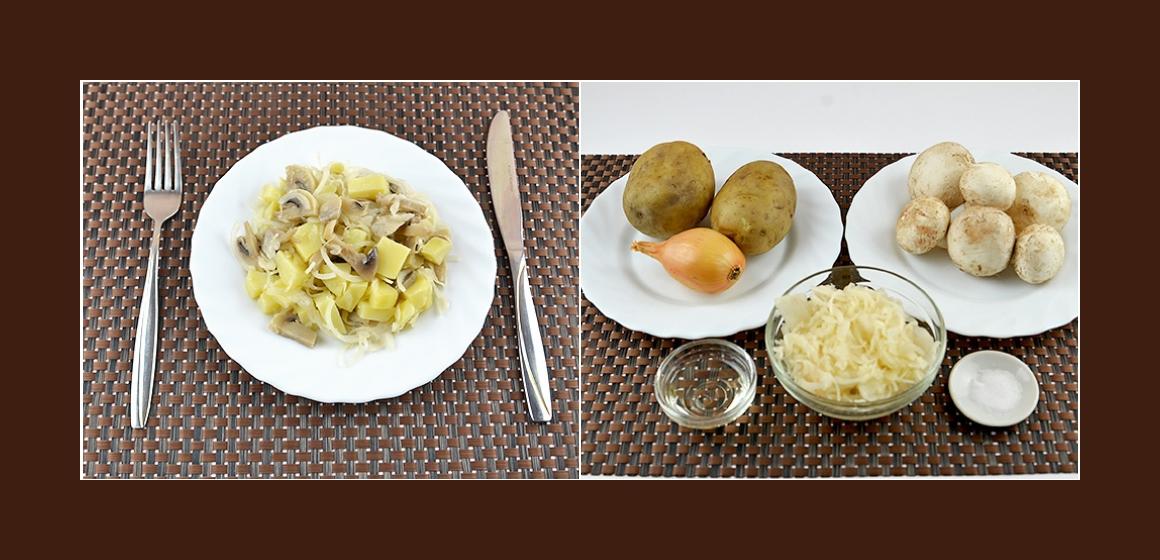 Nahrhafter Salat mit Kartoffeln Zwiebeln Champignons und Sauerkraut