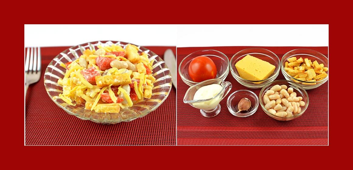 Leichter Salat mit Tomaten Käse Bohnen Knoblauch und Croutons
