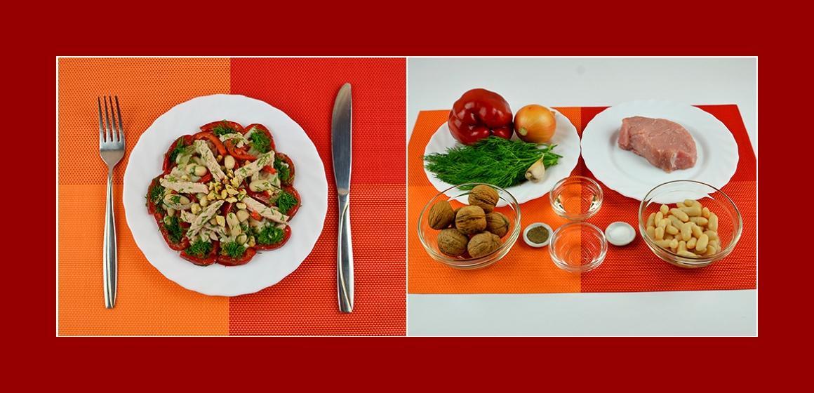 Nahrhafter Fleischsalat mit Paprika Bohnen Zwiebeln Knoblauch Nüssen und Dill