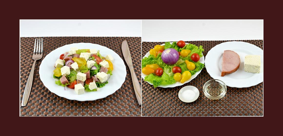 Einfacher Salat mit Tomaten Wurst Zwiebeln Salat und Feta