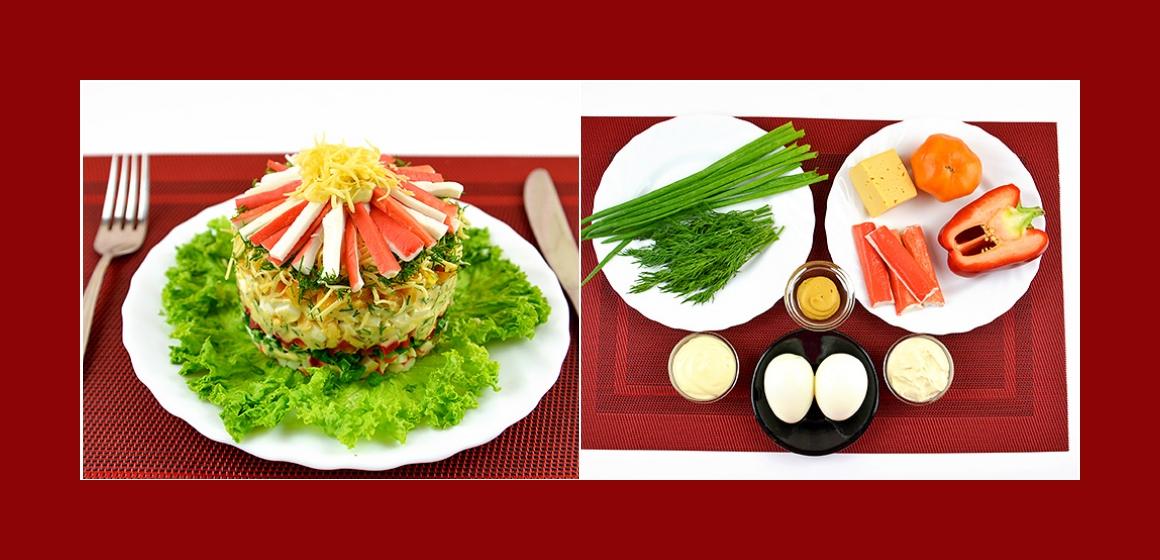 Nahrhafter Salat mit Tomaten Paprika Käse Krabbenstangen Eiern Dill und Schnittlauch