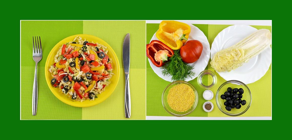 Herzhafter Hirsesalat mit Paprika Tomate Chinakohl Oliven und Dill