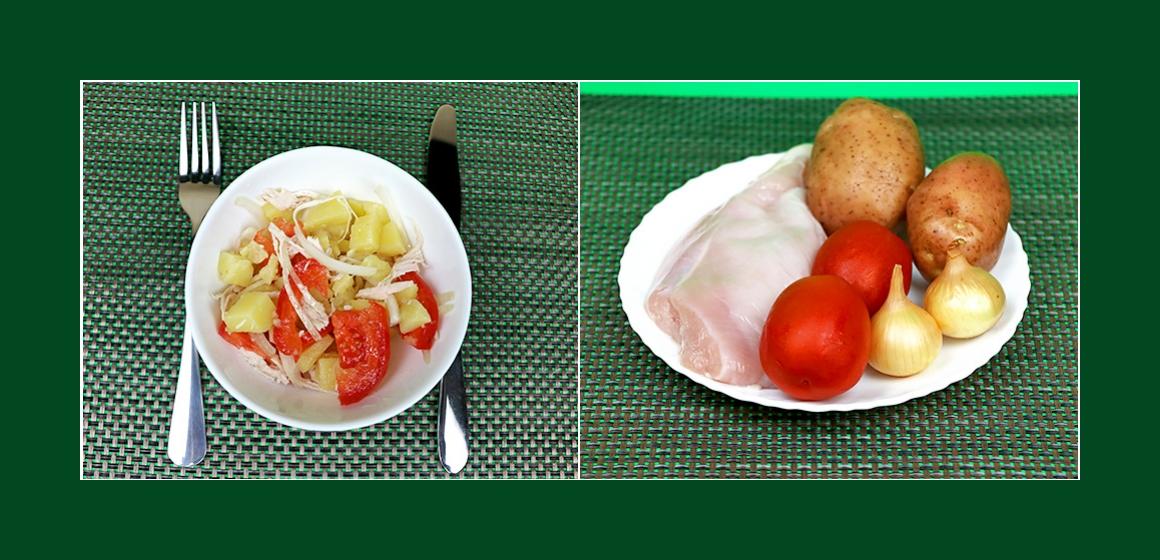 Nahrhafter Kartoffelsalat mit Hühnerbrust, Tomaten und Zwiebeln