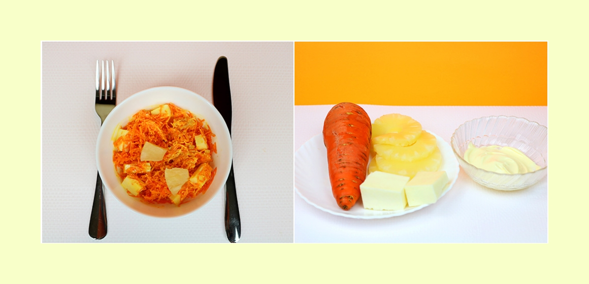 Sanfter Salat mit Möhre, Ananas, Käse und Mayonnaise
