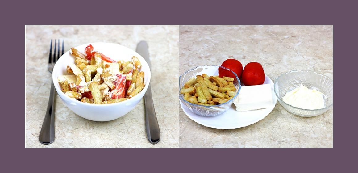 Gemischter Salat mit Tomaten Käse und Croutons