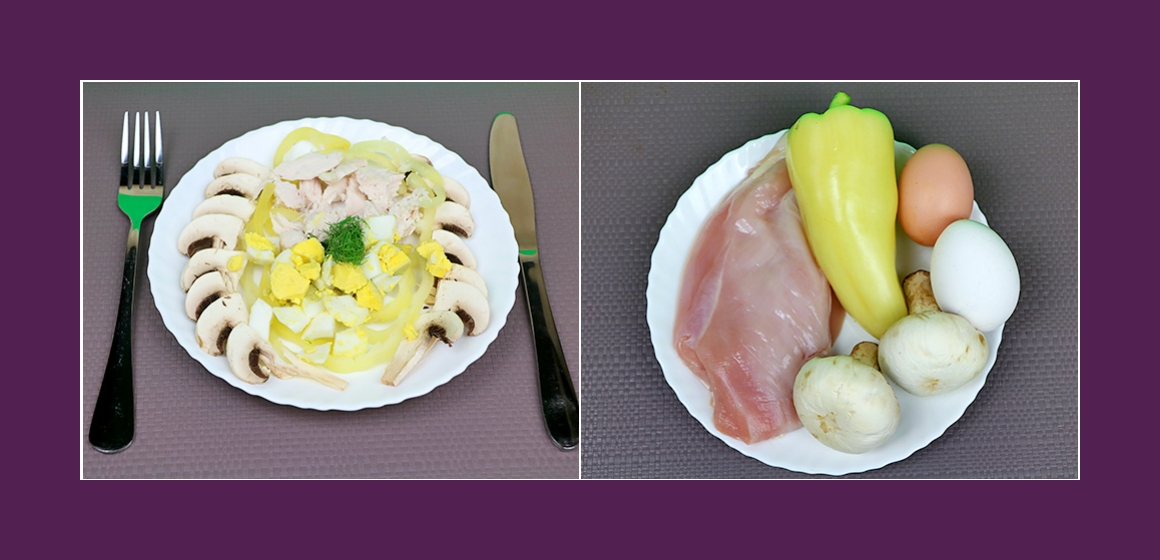 Köstlicher Fleischsalat mit Paprika Champignons und Eiern