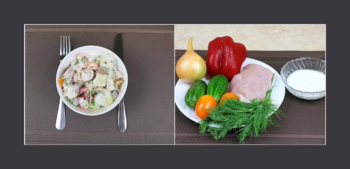 Bekömmlicher Gemüsesalat mit Hühnerbrust, Paprika, Tomaten und Gurken