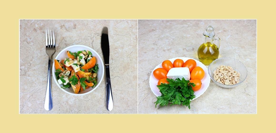 Gemischter Tomatensalat mit Feta, Petersille und Erdnüsse