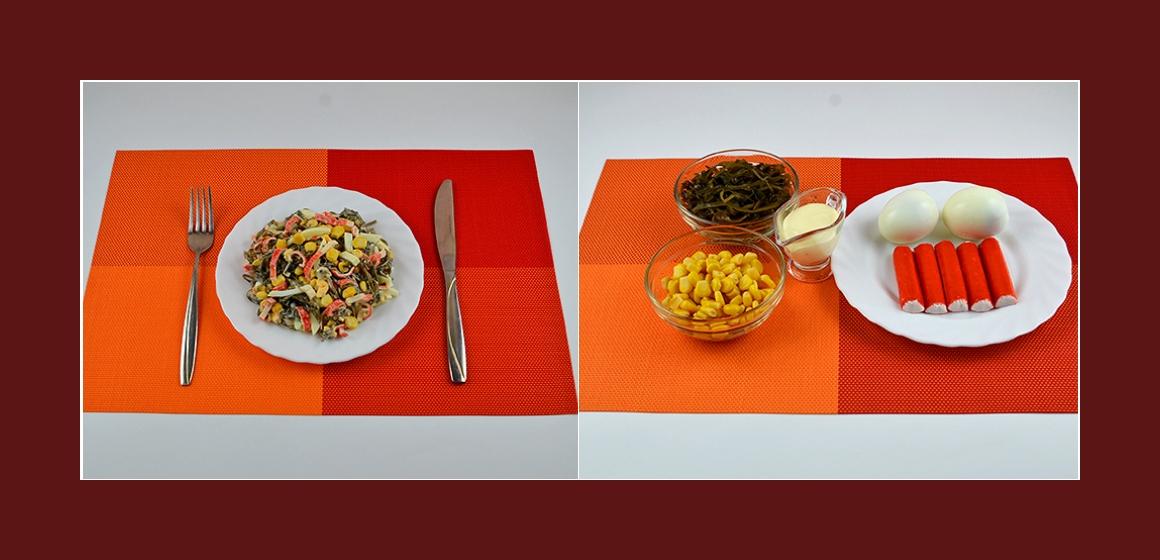 Bunter Seetangsalat mit Krabbenstangen, Mais und Eiern