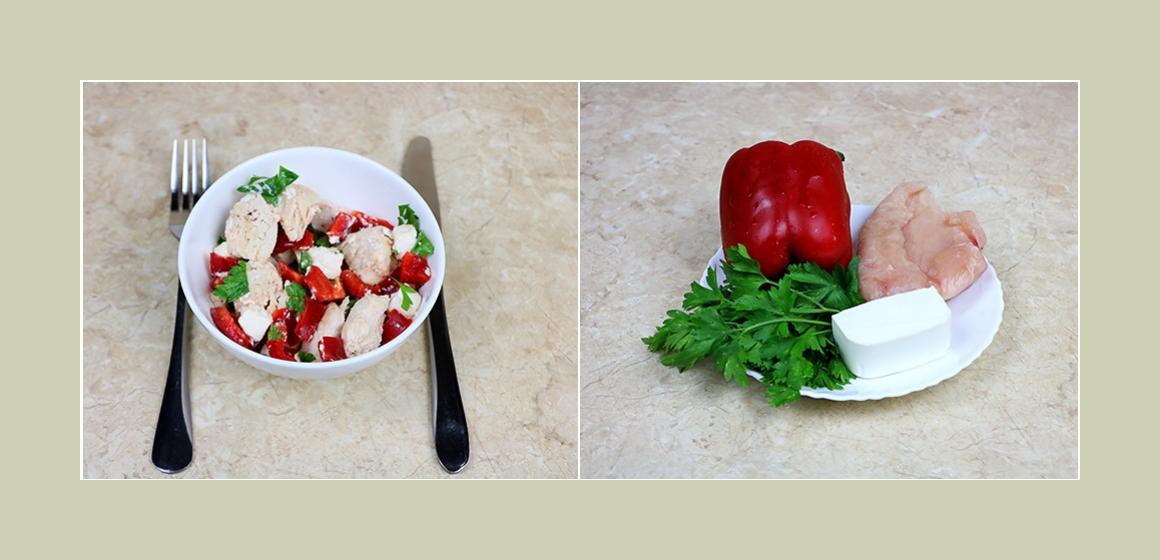 Einfacher Salat mit Hühnerbrust, Feta, Paprika und Petersille