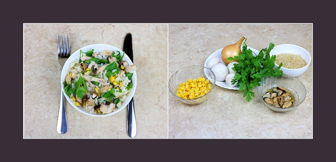 Herzhafter Salat mit Reis Muscheln Mais Pilzen Zwiebeln und Petersilie
