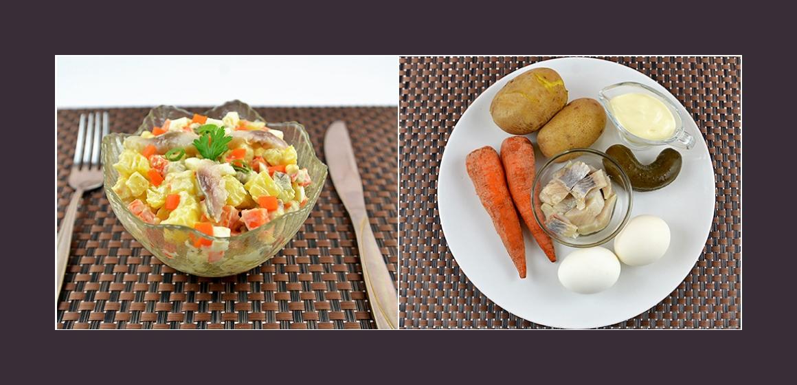 Köstlicher Salat mit Hering Kartoffeln Karotten Eiern und Gurken