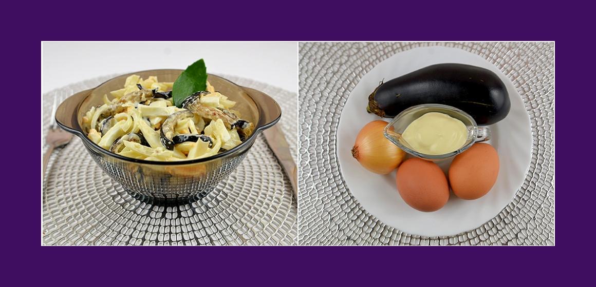 Herzhafter Salat mit Auberginen Eiern und Zwiebeln
