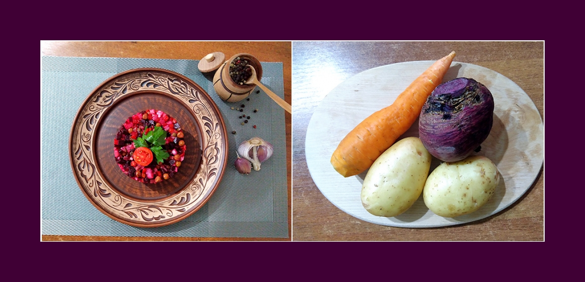 Bekömmlicher Gemüsesalat mit Kartoffeln, Rübe, grünen Erbsen, Möhre und Zwiebel