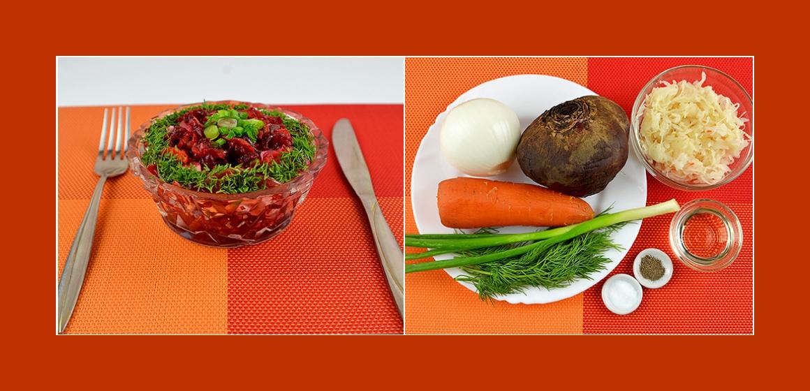 Pikanter Gemüsesalat mit Rübe, Möhre, Sauerkraut und Zwiebel