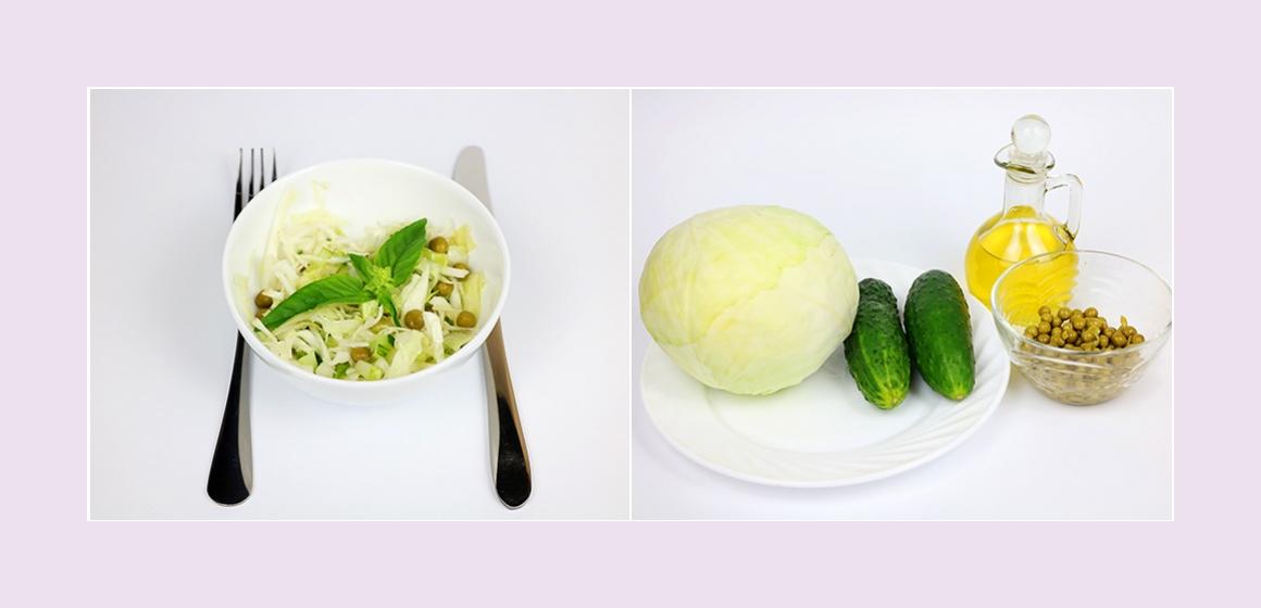 Einfacher Salat mit Kohl Gurken und Erbsen
