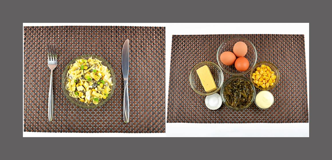 Leichter Salat mit Eiern, Mais, Käse und Seetang