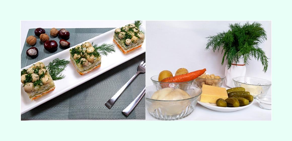 Nahrhafter Kartoffelsalat mit Hühnerbrust, Käse, sauren Gurken, Möhre und Champignons